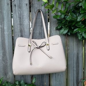 Blush pink Nanette Lepore vegan leather bow purse